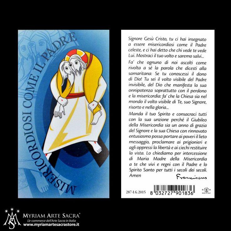 Confezione 100 immaginette con logo del Giubileo della Misericordia.  Formato 10 x 5,5 cm con preghiera sul retro. Il prezzo si riferisce alla confezione da 100 santini.