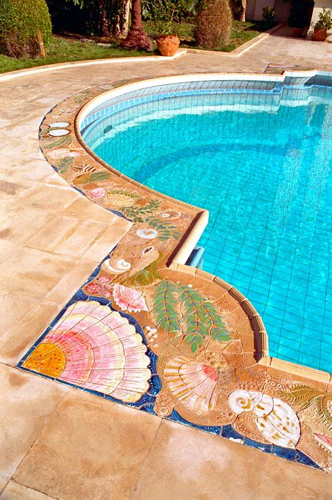 Mosaic Pool Coping Similar To Mosaics In Decking, Planter Benches, Pool  Bottom And Walls In Sullivanu0027s Pool. Their Pool Is An Octagon With  Dolphins, Orcas, ...