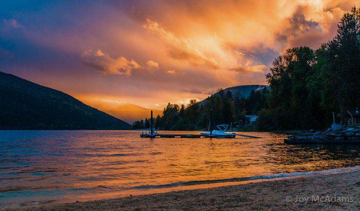 Sunset on Kootenay Lake, Nelson BC, Canada #sunset #kootenay #nelson bc
