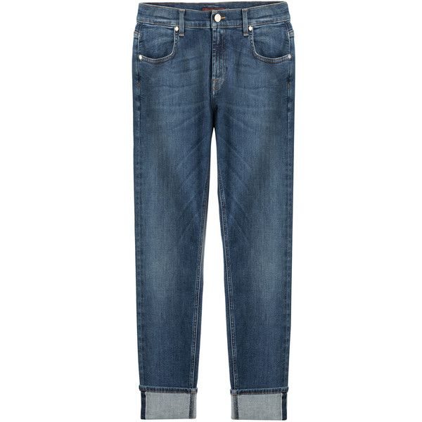Seven for all Mankind Relaxed Skinny Jeans found on Polyvore featuring jeans, pants, bottoms, blue, cuffed skinny jeans, zipper jeans, blue denim jeans, slim fit denim jeans and denim skinny jeans