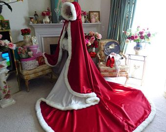 Queen of Hearts Bridal Cape Pageant-Train 52/96 inch Claret (Dark Red) / Ivory Satin Wedding Cloak Hooded with Fur Trim Handmade in USA
