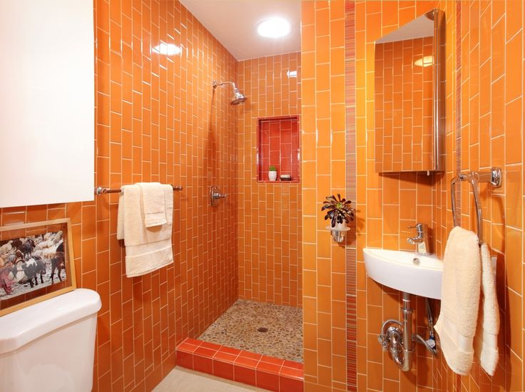 Contemporary 3 4 Bathroom with Emser Tile Random Sized Travertine Pebble  Tile in Beig Best 25  Contemporary orange bathrooms ideas on Pinterest   Wet  . Orange Bathroom Tile Ideas. Home Design Ideas