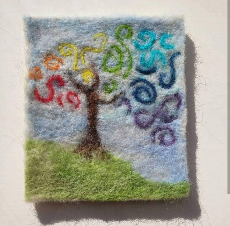 "8 Likes, 3 Comments - Happy Savage Studio (@happysavagestudio) on Instagram: ""#needlefelting for #creativesprint 2016 #rainbow #tree #diversity #hope #love"""