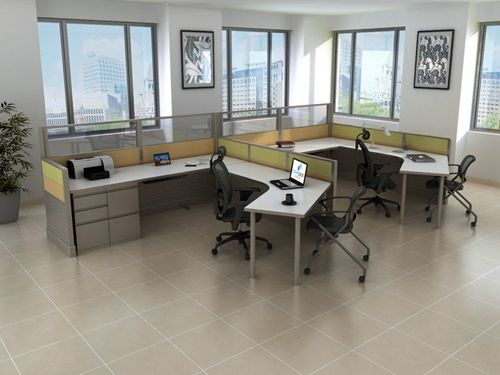 hmuu0027s 120 degree desking system with tiled paneling system that is perfect to addd some color to your office