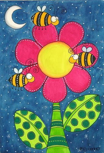 canvas art for kids | Pilyart - Bees Art Canvas - Murals For Kids