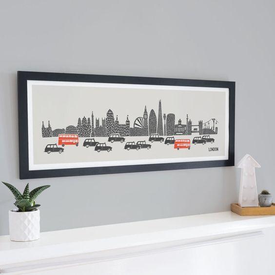 Panoramic London Skyline Print, Home Decor, Travel Wall Art, London Bus, Black Cab, New Home Housewarming Gift,
