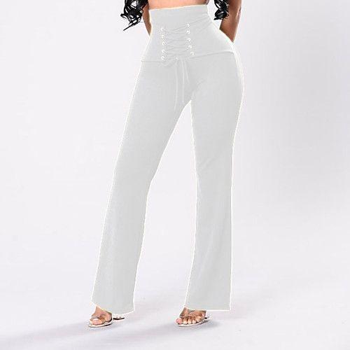 Feminino Simples Moda de Rua Cintura Alta strenchy Perna larga Calças,Perna larga Sólido Sexy,Côr Pura Clássico Fashion de 2017 por R$53.23