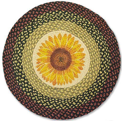 Country Rug (Sunflower Round Rug) Braided Kitchen Rug