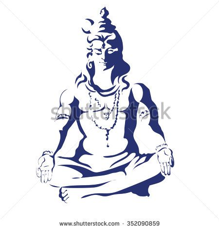 Lord Shiva in the lotus position and meditate. Maha Shivaratri. Black and white illustration