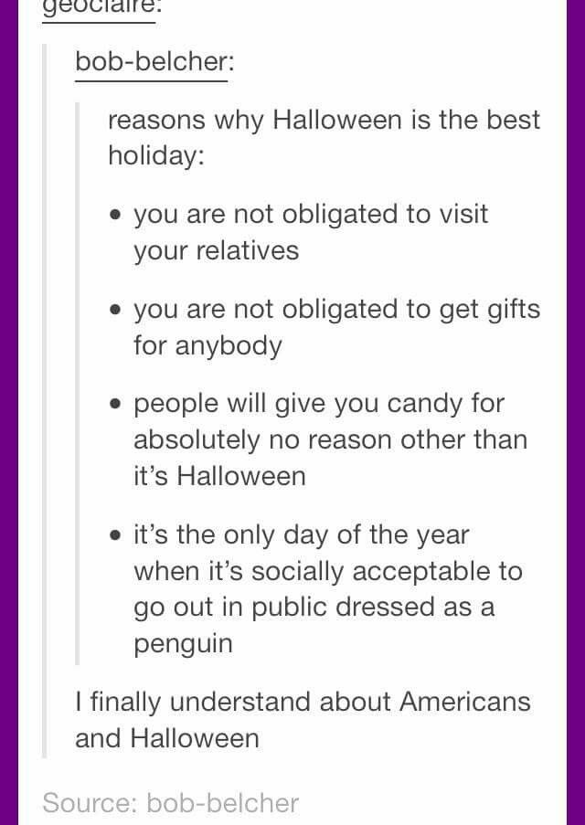 I wish I could be in America for Halloween :(