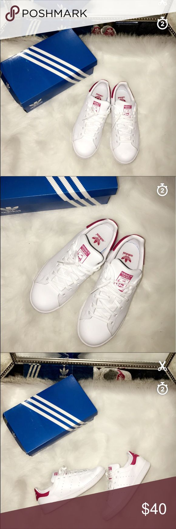 Stan Smith adidas These are big kids size 5 which is equal to women size 7 ! Used once for few hours ! Perfect condition comes with the box ! No trades JUST LIKE BRAND NEW ' adidas Shoes Sneakers