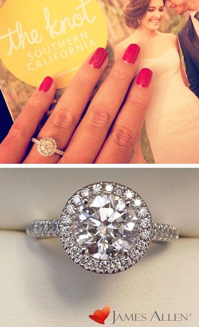 18K White Gold Wire Basket Halo Diamond Engagement Ring