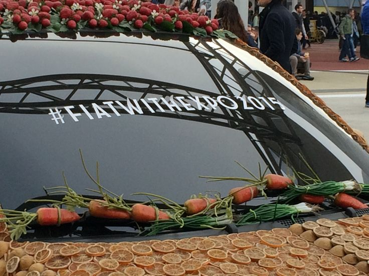 Fiat 500 is covered with real fruit and vegetables