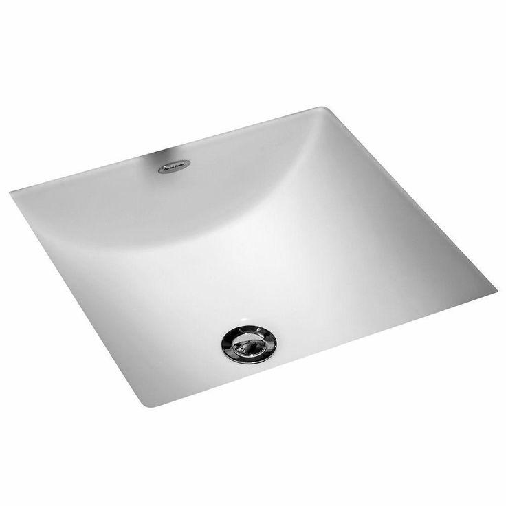 Square Bathroom Sink Under Counter Studio Carre White Undermount Style Porcelain #AmericanStandard