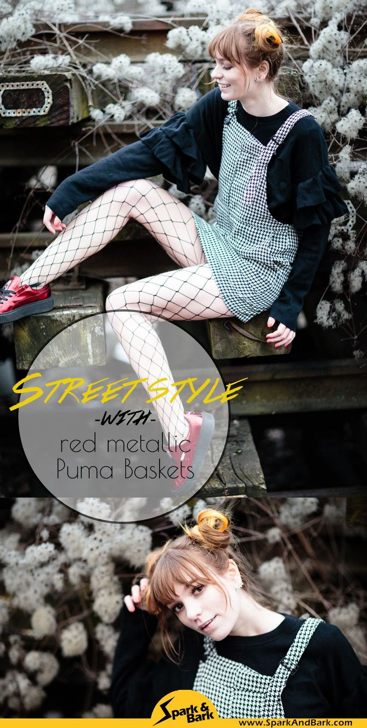 Puma Baskets red metallic street style with dungarees dress, fishnets and houndstooth pattern, Berlin street style fashion blogger