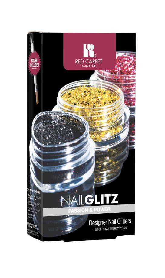 Το Nail Glitz Passion and Power περιέχει 1 βαζάκι μαύρο glitter, 1 βαζάκι χρυσό glitter, 1 βαζάκι κόκκινο glitter και ένα nail art πινέλο.   Τιμή 11,90€