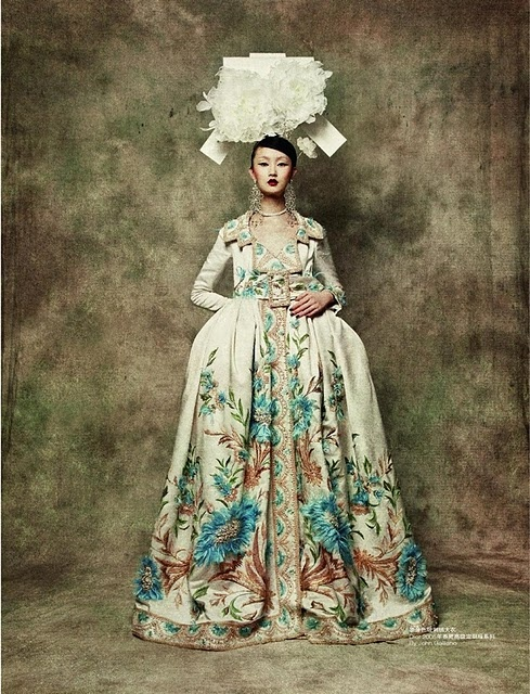 John Galiano for Christian Dior. Gown, reminiscent to a spanish farthingale.