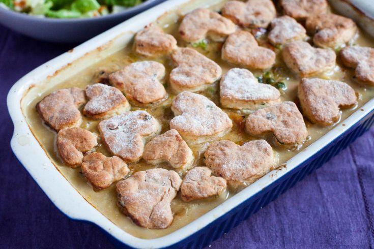 Potrawka z kurczaka i warzyw zapiekana z ciasteczkami