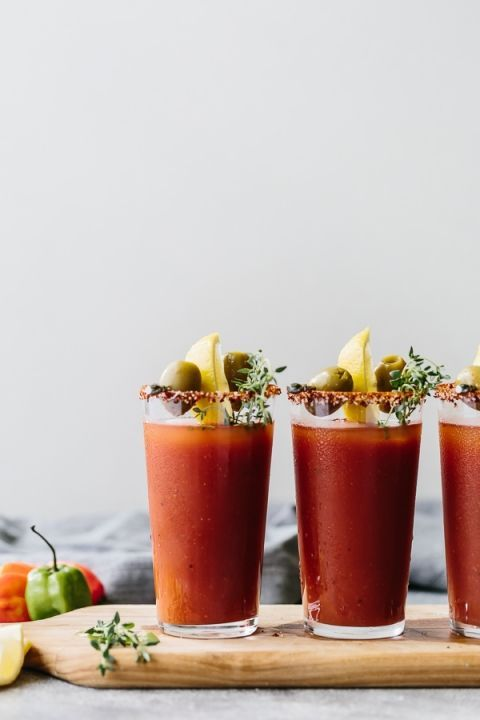 Sriracha Bloody Mary made with Powell and Mahoney Craft Cocktails