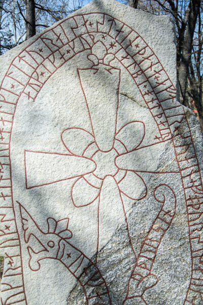 Runestone fom the viking ages, about a thousand years old. Stenhamra, Färingsö. Runsten, Solbacka, Stenhamra.