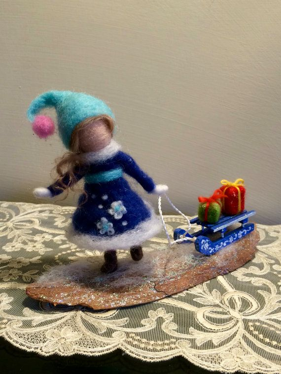 Needle felted dool, Waldorf inspired, Soft sculpture, Christmas decoration, Children room, Fairy with sled,Doll with sled,Blue,Gift,Puppet