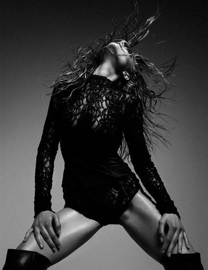 sexy | hot | body suit | fashion editorial | dance | stance | through back | long boots | black | lace | www.republicofyou.com.au