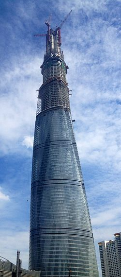 The Shanghai Tower is a supertall skyscraper under construction in Lujiazui, Pudong, Shanghai. Upon its completion in 2014, the building will stand approximately 2,073 ft high and will have 121 stories, with a total floor area of 4,090,000 sq ft.