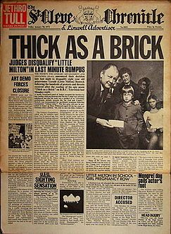 A concept album with the lyrics written on the in the form of a news paper  Thick as a Brick - Wikipedia, the free encyclopedia