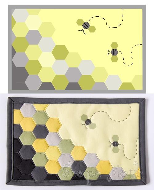 Hexie bee mug rug 1 by ShapeMoth, via Flickr