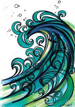 Water okOcean Colors, The Ocean, Ocean Waves, Beach Drawing, Art Journals Ideas Zentangle, Ocean Art, Tattoo, The Waves, Doodles And Drawing