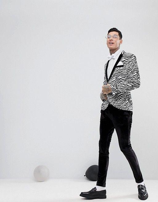 d10a2346aeb9 ASOS Super Skinny Tuxedo Jacket In Black Velvet Zebra