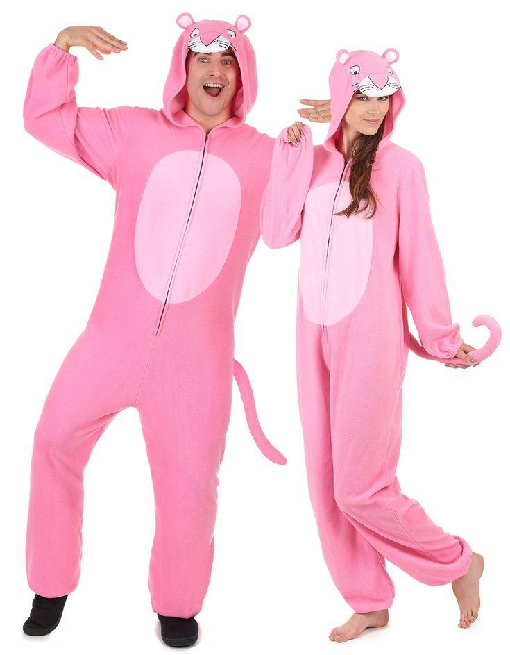 Disfraz de pareja pantera rosa adulto: Disfraz de pantera rosa con capucha hombreEste disfraz de pantera rosa es para hombre.El traje es de tejido polar suave con capucha y cremallera.Hay gomas en puños y...