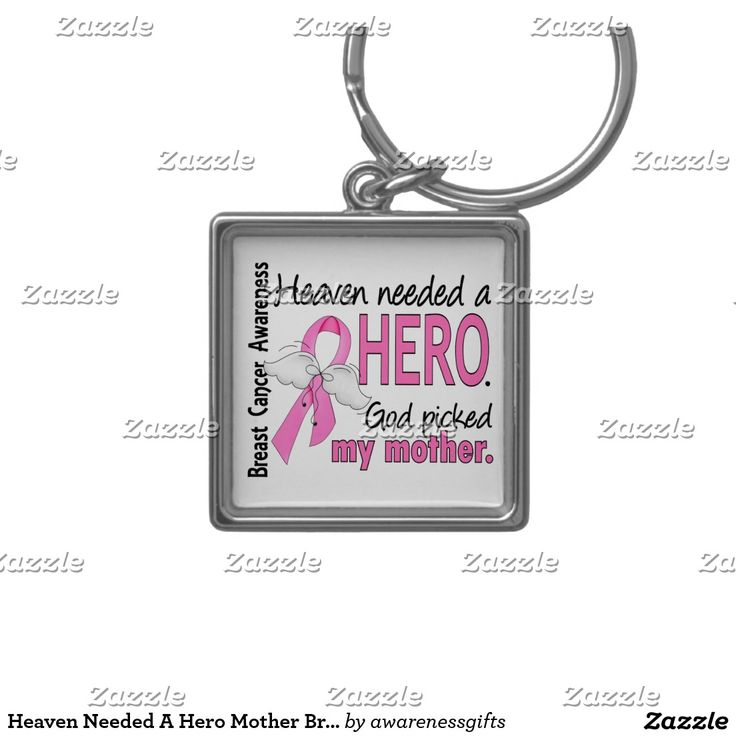 Heaven Needed A Hero Mother Breast Cancer Silver-Colored Square Key Ring