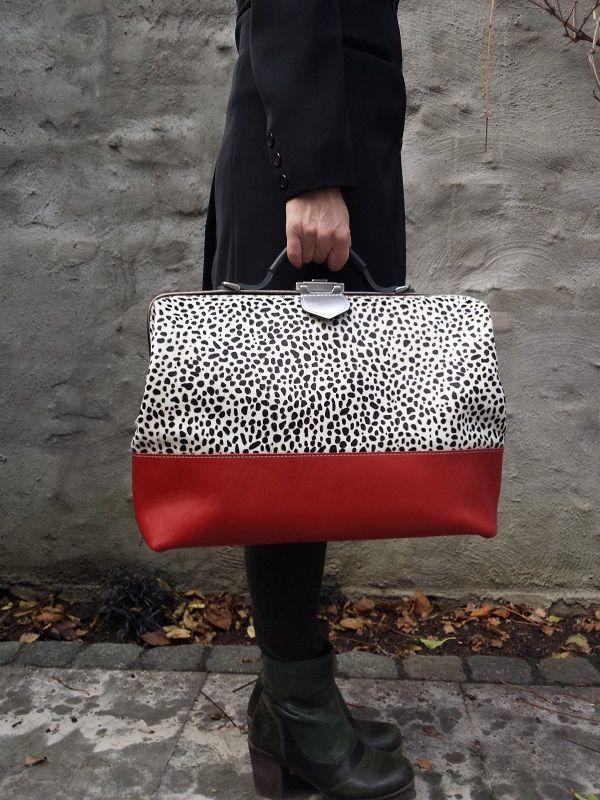 Werktas laptoptas cheetah rood | Mirjam Zwolsman