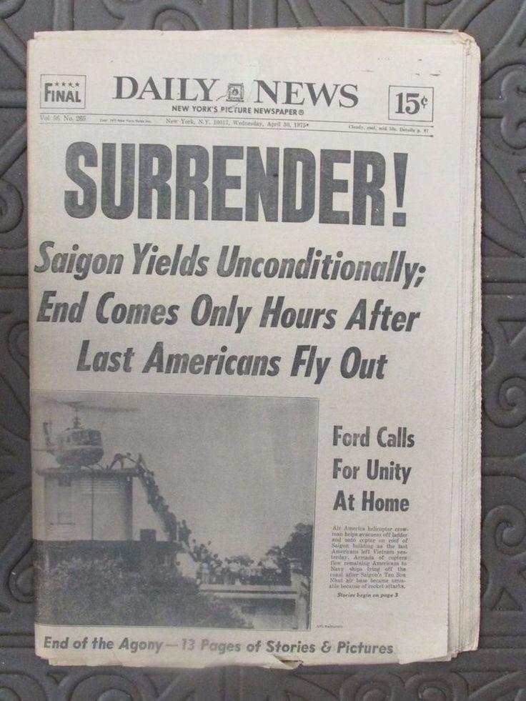 "Vietnam - Peace Daily News NY Newspaper April '75 - Headlines ""Surrender"" Fall of Saigon Vietnam"
