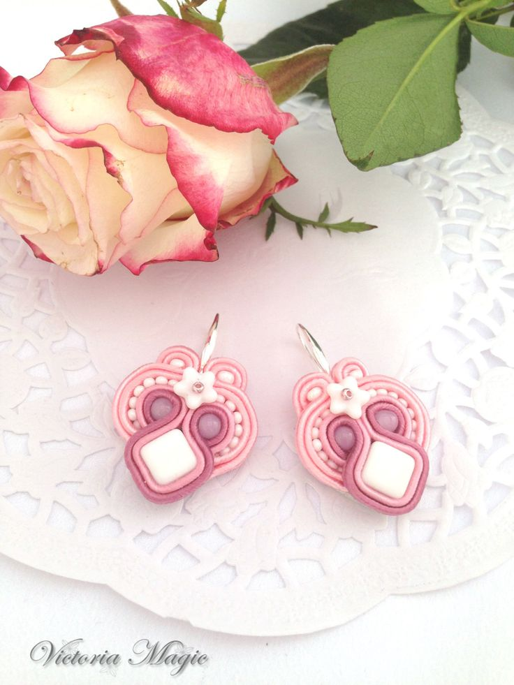 Dangle Pink and White Earrings - Unusual Dangle Earrings - Soutache Earrings - Handmade Earrings by SoutacheMagic on Etsy