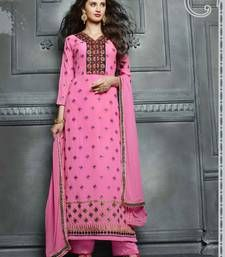 Buy Pink georgette embroidered semi stitiched salwar with dupatta pakistani-salwar-kameez online