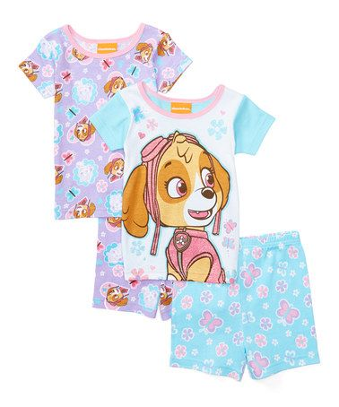 Look at this #zulilyfind! Pink & Sky Blue PAW Patrol Four-Piece Pajama Set - Toddler #zulilyfinds