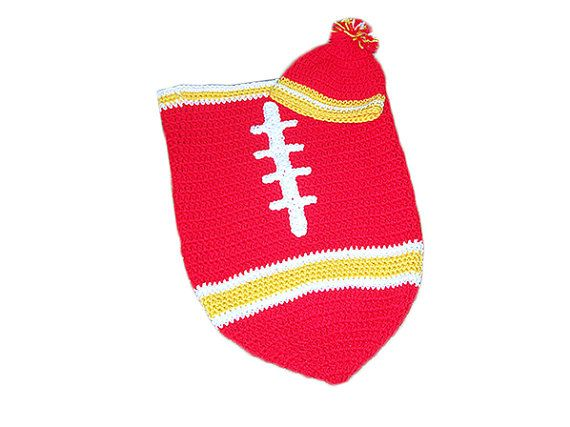 Kansas City Chiefs Baby Football Cocoon & Hat by CoverMeAlways, $36.00 #kansas #chiefs