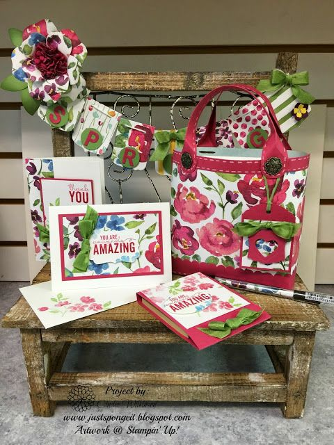Just Sponge It, Bench Display Find! Painted Petals stamp set, Painted Blooms Designer Series paper, Party Pennants Bigz Die, Bouquet Bigz Die, Decorative Label, Artisan Label Punches, & Itty Bitty Accents Punch Pack, Thank you Cards, DIY, Stampin' Up!
