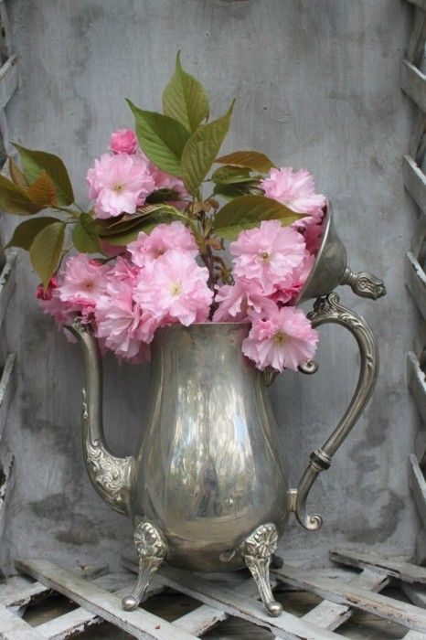 silver pitcher with pink peonies