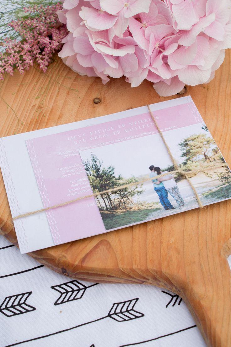 Trouwkaart Willemijn en Gerko - Mint & Roze bruiloft - Ontwerp door Leesign #Leesign #trouwkaart #trouwhuisstijl #mint #roze #hortensia #weddingannouncement #kraft