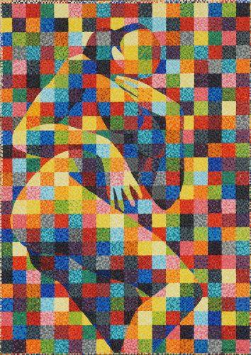"#finearts, ""nude m. b."", 05. 2004, #pixelism - ca. 45.400 painted #pixels, acrylic on canvas, 72 x 101 cm, ■ = 4 x 4 mm, (28.35"" x 39.76"", ■ = 0,16"" x 0,16"")."
