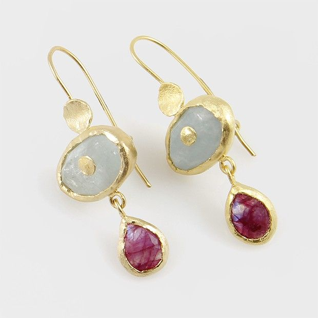 Sterling Silver Fish Hook Earrings with Aquamarine and Ruby/ Moonstone, plated in 24k gold