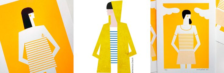 @Veronica Grech (Spain) From left to right – Tennis, Yellow raincoat, Anchor illustrations.