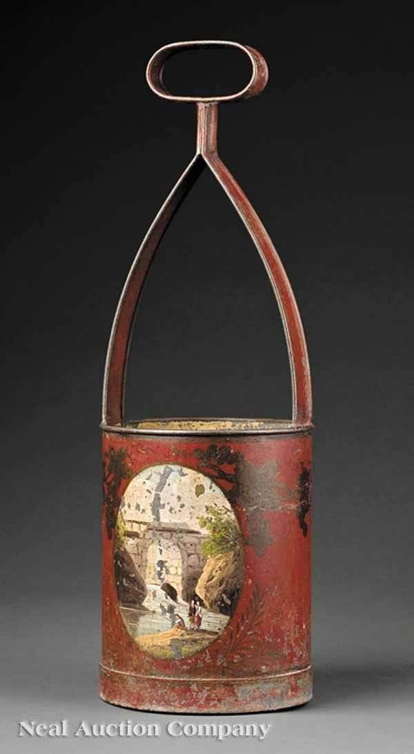French Tole Painted Bottle Caddy, 19th century