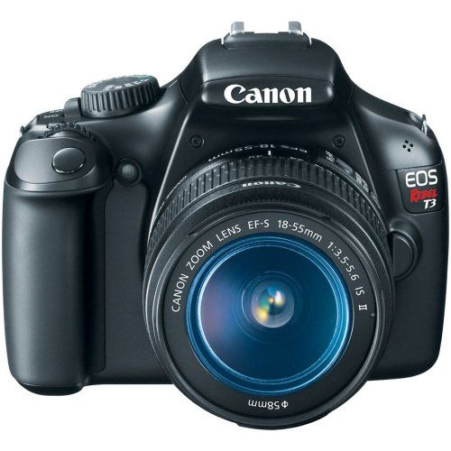 Canon EOS Rebel T3 12.2 MP CMOS Digital SLR with 18-55mm IS II Lens and EOS HD Movie Mode (Black)... If I I ever had money to get a camera, I'd get this one.