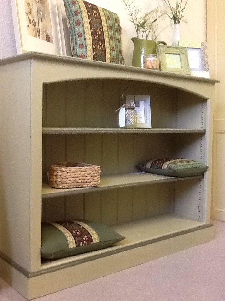 bookcase finished in annie sloan versailles and olive