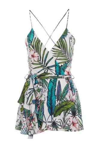 a720e50cbb Buy TOWIE Cream Green And Pink Tropical Playsuit online now from Quiz.  Great deals and