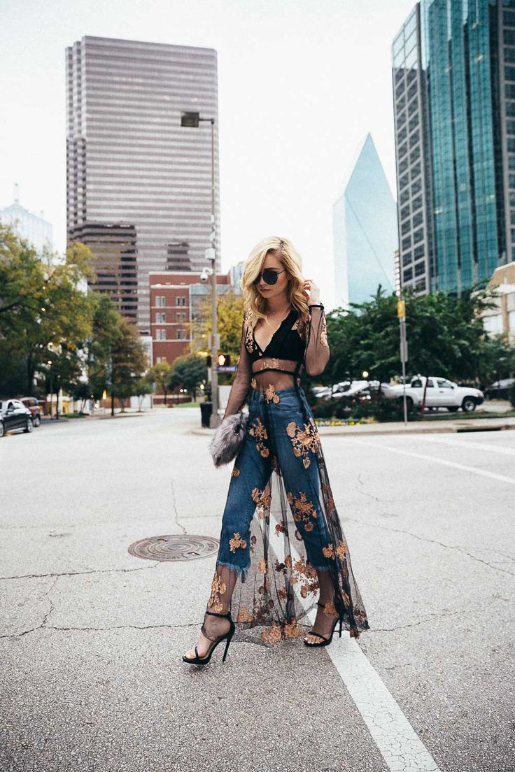 Sheer dress over jeans 2017 trend watch